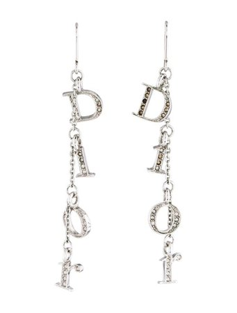 Christian Dior Crystal Logo Drop Earrings - Earrings - CHR96659 | The RealReal