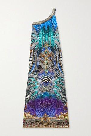 One-shoulder Crystal-embellished Printed Silk-satin Maxi Dress - Blue