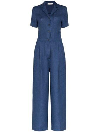 Lvir Wide-Leg Tailored Jumpsuit LV20SJS01 Blue | Farfetch