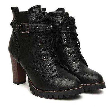 women black high heel gothic steampunk boots