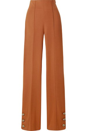 Oscar de la Renta   Button-embellished stretch wool-blend twill straight-leg pants   NET-A-PORTER.COM