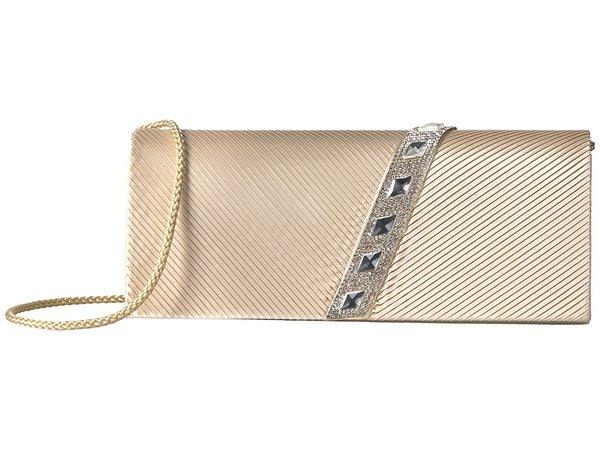 Jessica McClintock - Nancy Satin Pleated Clutch with Rhinestones (Champagne) Clutch Handbags