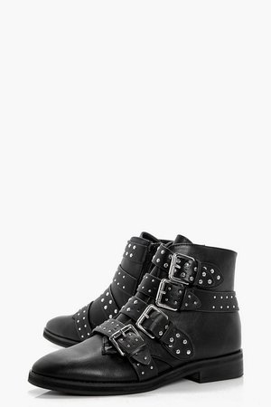 Studded Strap Ankle Boots | boohoo