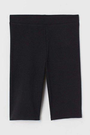 Ribbed Cycling Shorts - Black