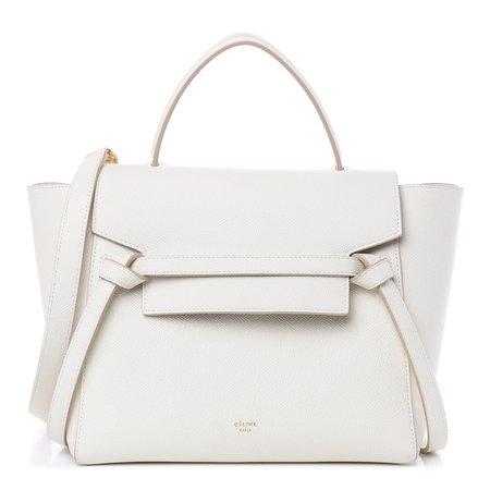 CELINE Grained Calfskin Micro Belt Bag White 464507