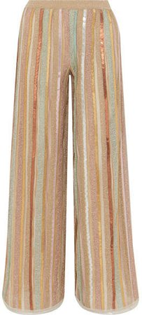 Sequined Striped Lurex Wide-leg Pants - Pink