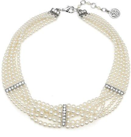 Elegance Glass Pearl & Crystal Bar Station Necklace