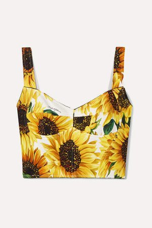 Cropped Floral-print Cady Bustier Top - Ivory