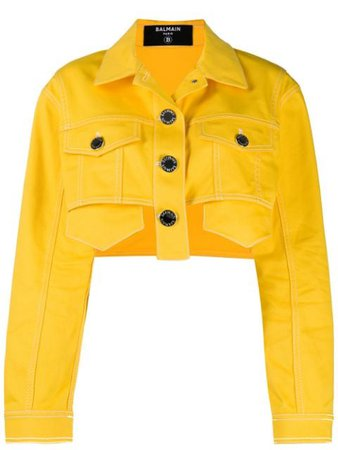 Shop yellow Balmain cropped denim jacket with Express Delivery - Farfetch