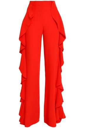 Ruffled crepe flared pants | CINQ À SEPT | Sale up to 70% off | THE OUTNET