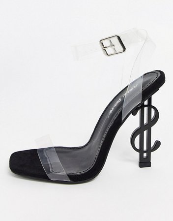 Public Desire Cash heeled sandal with clear upper in black | ASOS