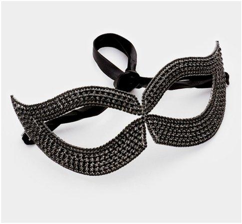 Filipia Custer Cat Eye Masquerade Mask Black Crystal