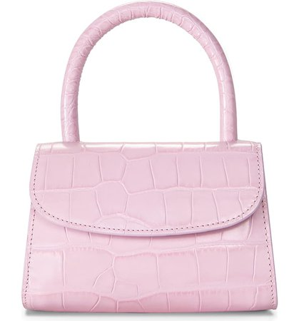 By Far Mini Croc Embossed Leather Top Handle Bag | Nordstrom
