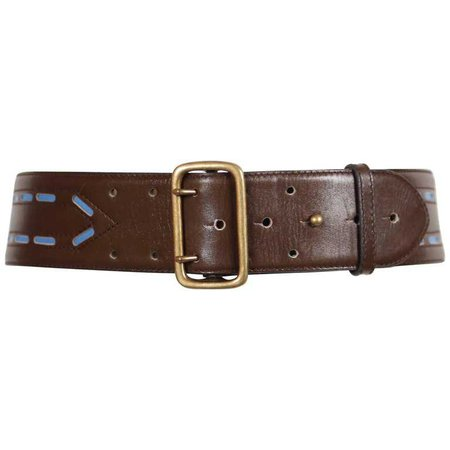 Azzedine Alaïa brown leather belt with blue accents, 1990s For Sale at 1stdibs