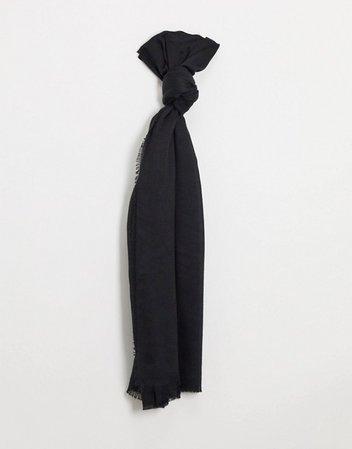 ASOS DESIGN lightweight scarf with raw edge in black | ASOS