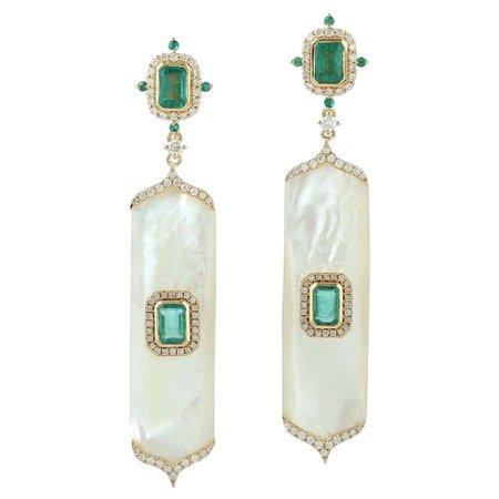 Emerald Pearl Diamond 18 Karat Gold Earrings For Sale at 1stDibs