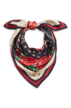 Gucci Rose Chain Foulard Silk Twill Scarf | Nordstrom