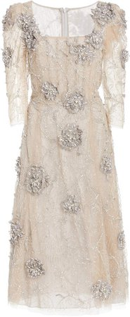 Marchesa Embroidered Tulle Cocktail Dress