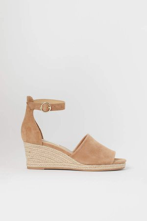 Suede Wedge-heel Sandals - Beige