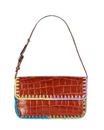 STAUD Tommy Crochet-Trimmed Croc-Embossed Shoulder Bag | INTERMIX®