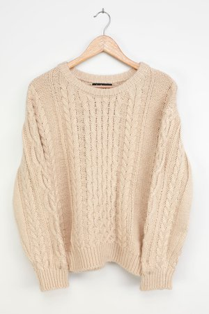 Cute Cream Sweater - Cable Knit Sweater - Pullover Sweater - Lulus