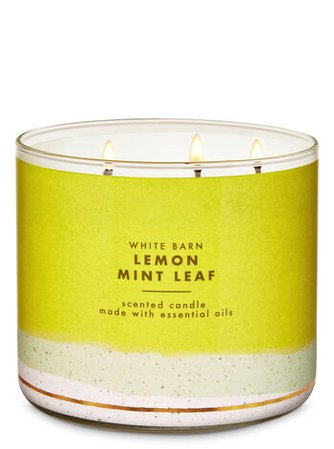 Lemon Mint Leaf 3-Wick Candle - White Barn | Bath & Body Works