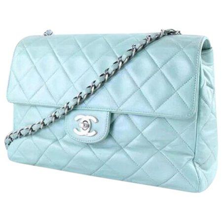 Classic Chanel Authentic Vintage Flap Bag in Mint Green : Vintage Paris Designs | Ruby Lane
