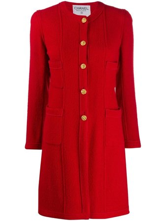 Chanel Red Collarless Relaxed-Fit Coat