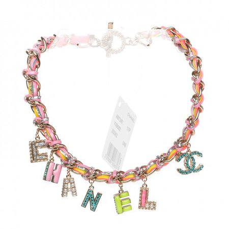 CHANEL Metal Strass PVC Enamel CC Chain Link Choker Necklace Gold Blue Pink Yellow 194011