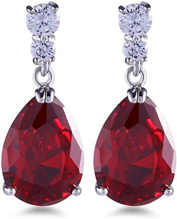 Red Pear Drop Dangle Earrings