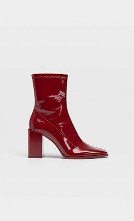 Faux patent high-heel ankle boots - Women's fashion   Stradivarius United Kingdom