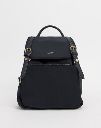 ALDO Rella backpack with gold detailing in black recycled polyester | ASOS