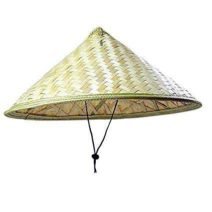 WYZ Pack of 2 Traditional Chinese Adult Oriental Bamboo Straw Cone Garden Fishing Hat Adult Rice Hat: Amazon.co.uk: Toys & Games