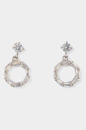 Mya CZ Baguette Circle Drop Earrings | francesca's