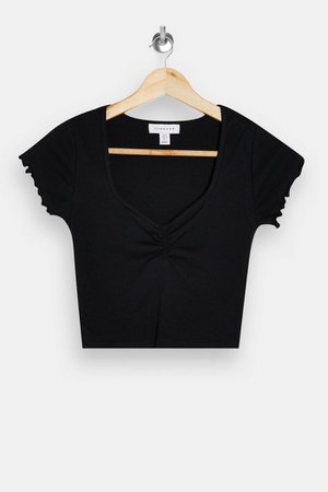 Black Ribbed Ruched Crop Top | Topshop