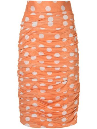 Bambah Polka Dot Ruched Skirt - Farfetch