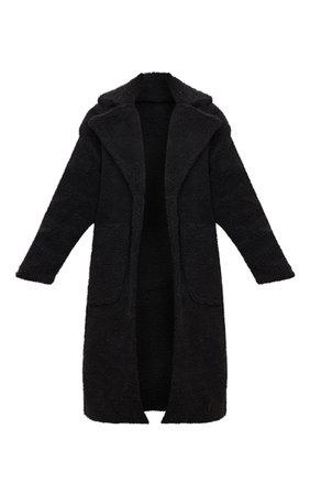 Black Borg Longline Coat   Coats & Jackets   PrettyLittleThing