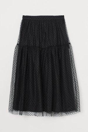 Calf-length Mesh Skirt - Black