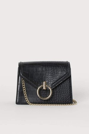 Crocodile-pattern Shoulder Bag - Black