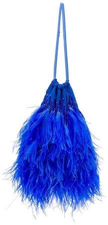 feather embellished tote bag