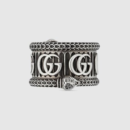 Silver Sterling Silver Silver ring with Double G | GUCCI® US