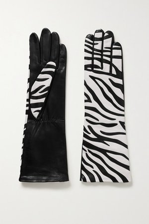 Agnelle | Yara appliquéd leather gloves | NET-A-PORTER.COM