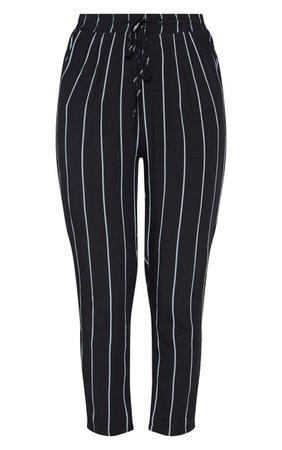 DIYA BLACK PIN STRIPE CASUAL PANTS