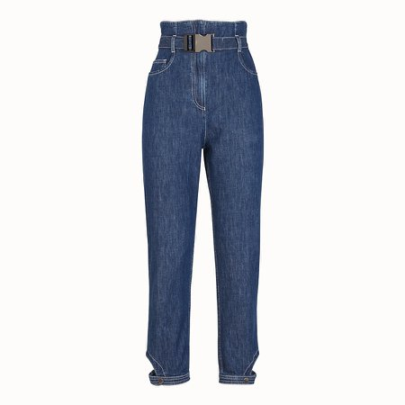 Blue cotton jeans - TROUSERS | Fendi
