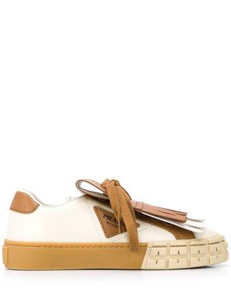 Prada Fringe-Detailed Low-Top Sneakers 1E943LF0353L48 Brown | Farfetch