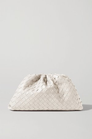 The Pouch Large Gathered Intrecciato Leather Clutch - White
