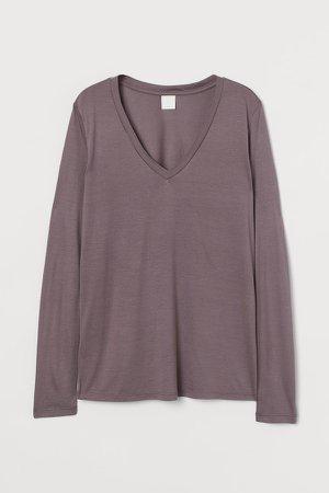 V-neck Jersey Top - Purple