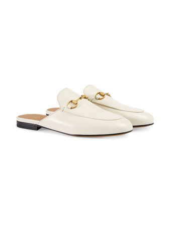 GUCCI White Princetown Leather Mules
