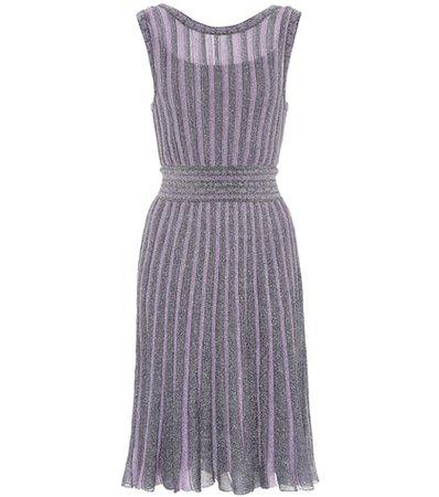 Metallic striped crochet dress