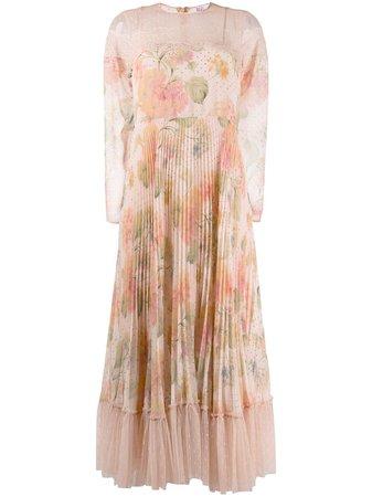 Pink RedValentino floral-print long dress - Farfetch
